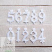 Számgyertya fehér 9, dobozos