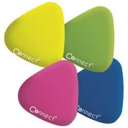 Radír CONNECT háromszögletű színes (sárga, zöld, rózsa, kék) 24db/ kínáló doboz