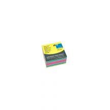 Jegyzettömb GLN öntapadós, 75x75 mm, 450 lap, neon színek (sárga, kék, pink)