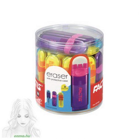 Radír FACTIS színes, átlátszó műanyag tokban, kupakkal, 30db/kínáló henger