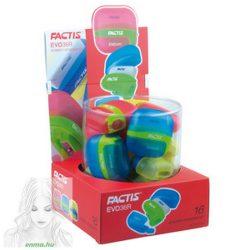 Radír + hegyező FACTIS színes műanyag tokban, 16 db/display
